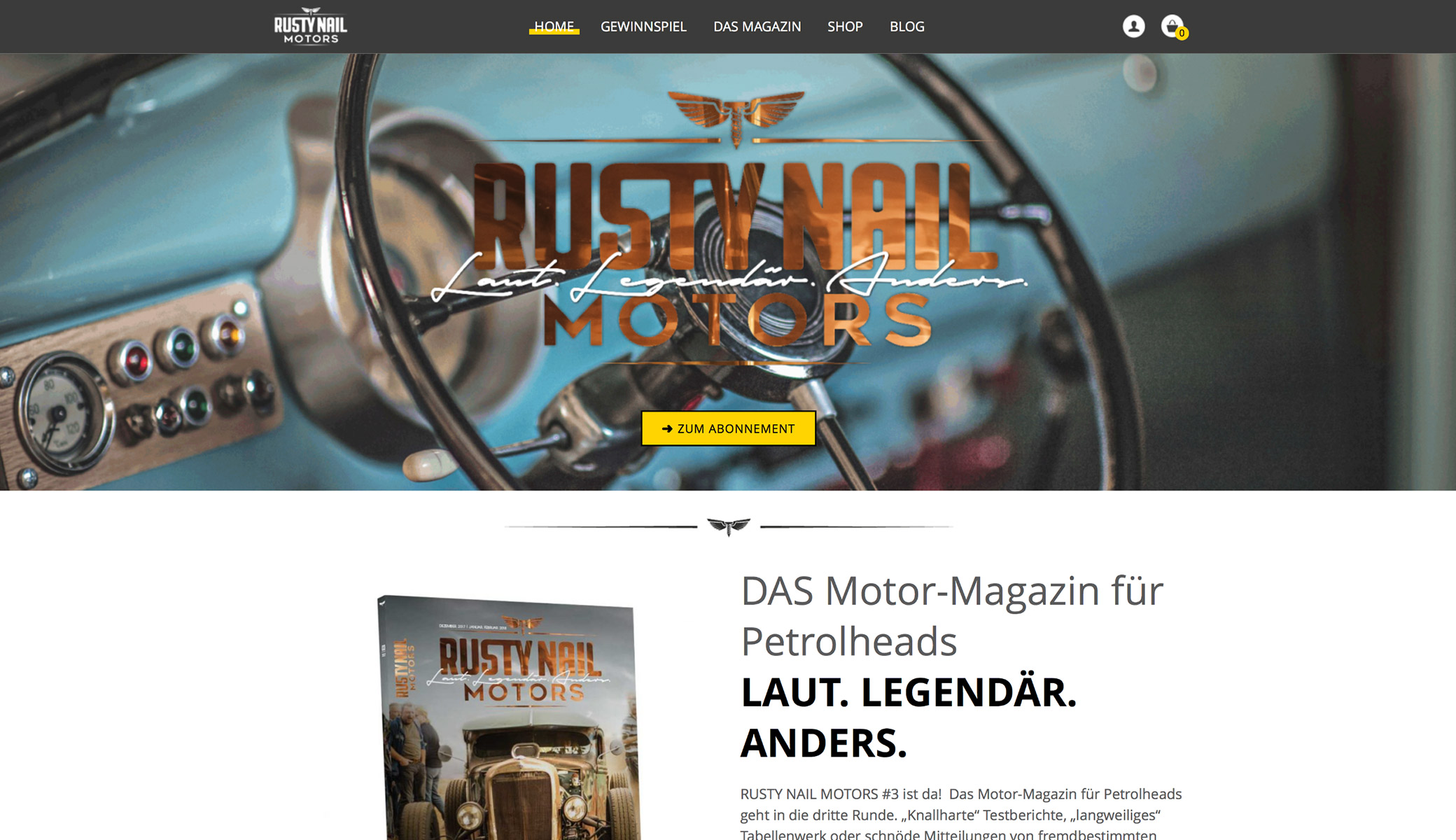 Screenshot Rusty Nail Motors Startseite