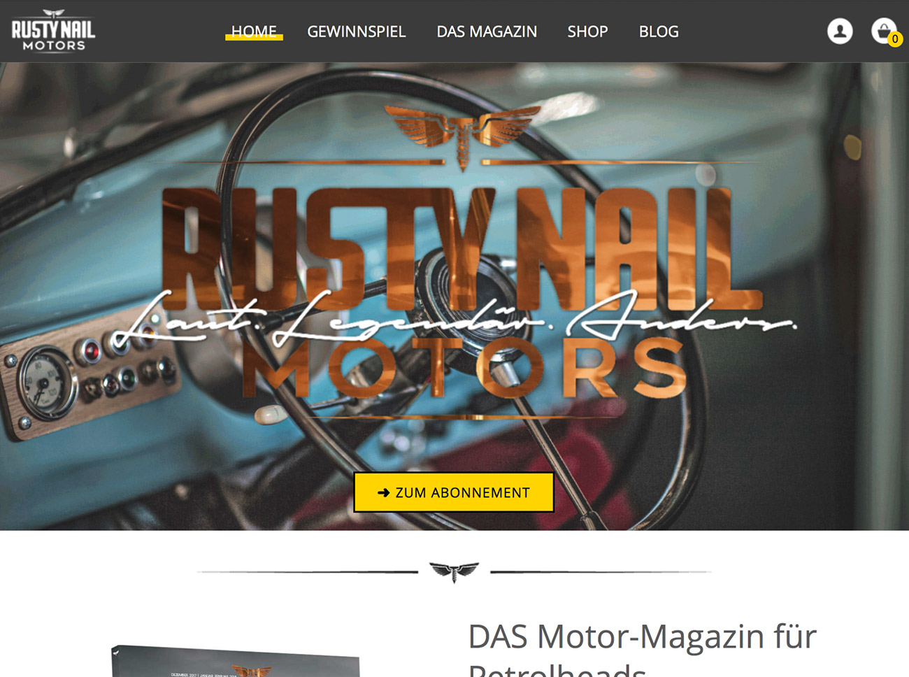 Screenshot Rusty Nail Motors Startseite iPad