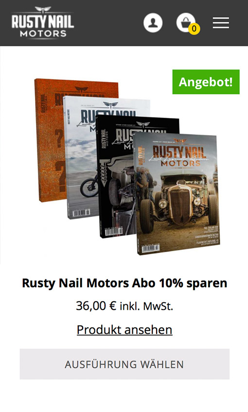 Screenshot Rusty Nail Motors Listing Seite Smartphone