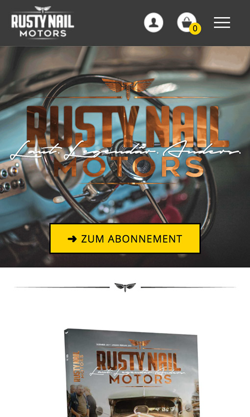 Screenshot Rusty Nail Motors Startseite Smartphone