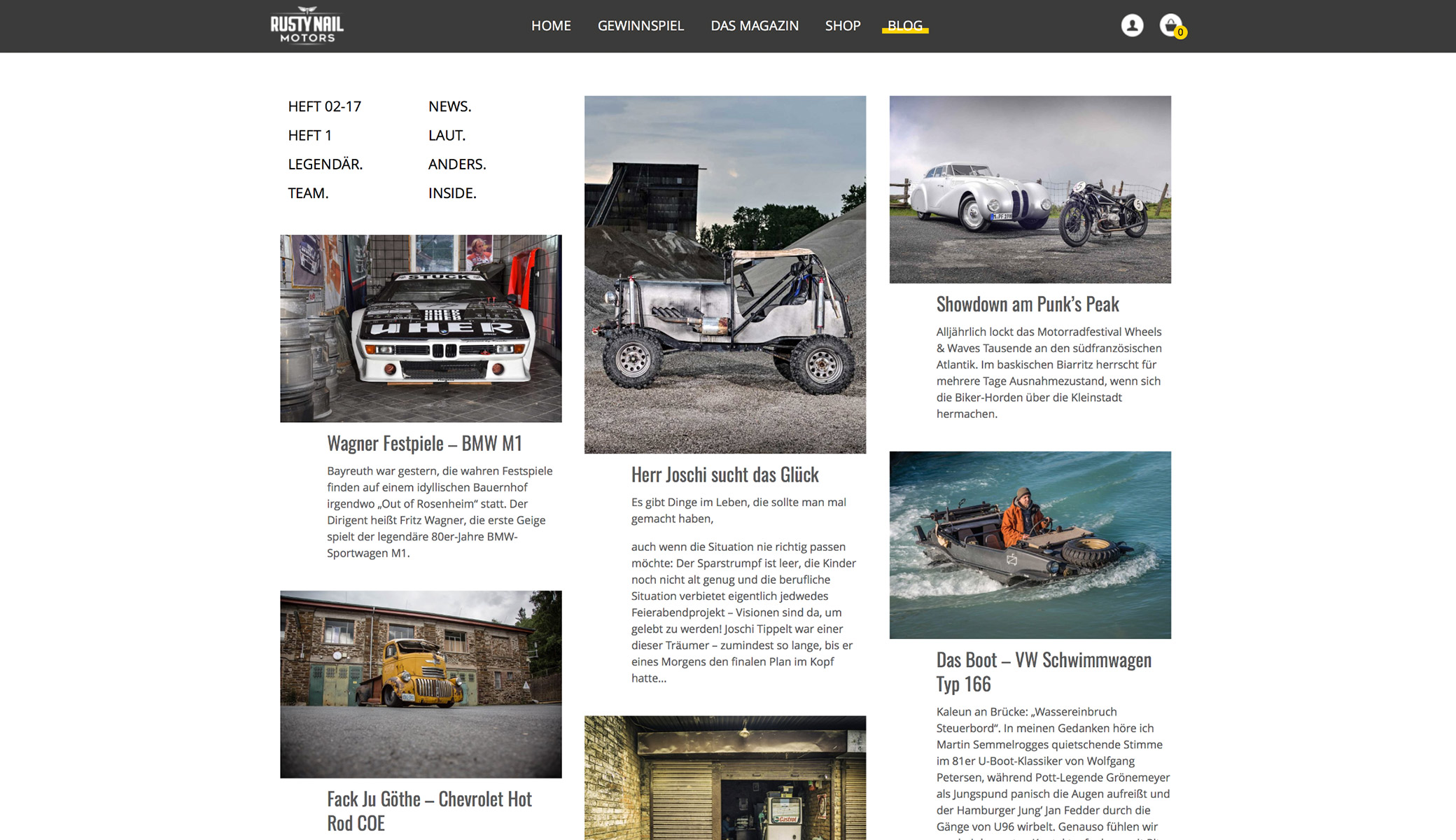 Screenshot Rusty Nail Motors WooCommerce Projekt Blog Desktop